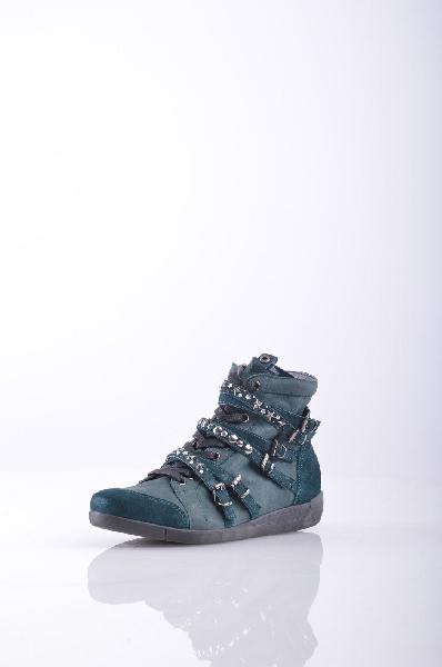 Высокие кеды JANET SPORTЖенская обувь<br>Материал: замша, эффект пятнистости, стразы, логотип, аппликации из металла, одноцветное изделие, шнуровка, скругленный носок, резиновая подошва с тиснением<br>Страна: Италия<br><br>Материал: Натуральная кожа<br>Сезон: МУЛЬТИ<br>Коллекция: Весна-лето<br>Пол: Женский<br>Возраст: Взрослый<br>Цвет: Зеленый<br>Размер RU: 37